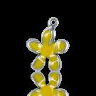 hangers 22mm geel bloem metaal