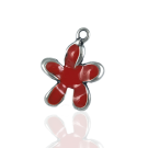 hangers 22mm rood bloem metaal