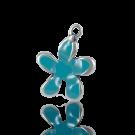 hangers 22mm blauw bloem metaal