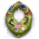Cloisonne kralen 21mm groen ovaal