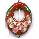 Cloisonne kralen 21mm rood ovaal