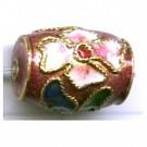 Cloisonne kralen 14mm roze cilinder