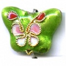 Cloisonne kralen 15mm lime groen dier