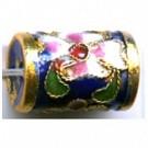 Cloisonne kralen 16mm blauw cilinder
