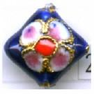 Cloisonne kralen 12mm blauw vierkant