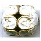 Cloisonne kralen 16mm wit ovaal