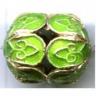 Cloisonne kralen 16mm groen ovaal