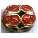 Cloisonne kralen 16mm rood ovaal