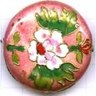 Cloisonne kralen 40mm roze rond