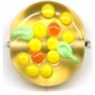 glaskralen 13mm geel rond