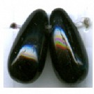 glaskralen 11mm zwart druppel