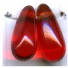 glaskralen 11mm rood druppel