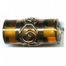 glaskralen 19mm bruin cilinder