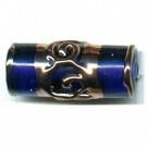 glaskralen 19mm blauw cilinder