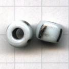 glaskralen grootgat 9mm wit zwart rond