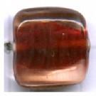 glaskralen 11mm bruin blokje