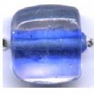 glaskralen 11mm blauw blokje