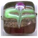 glaskralen 13mm paars blokje
