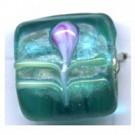 glaskralen 13mm turquoise blokje