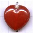 glaskralen 17mm rood hartje