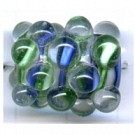 glaskralen 22mm blauw rechthoekig