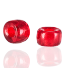 Glaskralen groot gat 12mm rood transparant cilinder