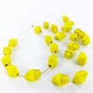 Glaskralen konisch 12mm tweekleurig geel