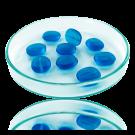 Glaskralen ovaal plat 14mm blauw transparant