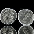 hanger munten 30mm oudzilver rond grieks