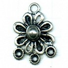 hangers 33mm oudzilver bloem metaal