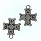 hangers 24mm oudzilver kruis metaal