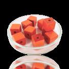 Houten kralen 10mm oranje blokje