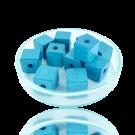 Houten kralen 10mm babyblauw blokje