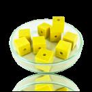 Houten kralen 10mm geel blokje