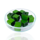 Houten kralen 10mm mosgroen blokje