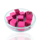 Houten kralen 10mm roze blokje