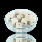 Houten kralen 10mm wit blokje