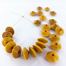 Houten kralen discus 12mm geel