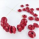 Houten kralen discus 12mm rood