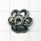 kapjes 12mm oudzilver bloem tin