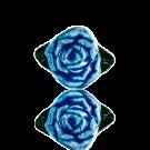 keramiek kralen 13mm blauw bloem roos