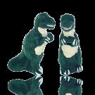 keramiek kralen 35mm groen dinosaurus
