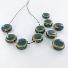 Kralen 12mm blauw turquoise rond plat porselein
