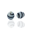 Kralen voor surinaamse sieraden ovaal 10mm glaskralen wit zwart