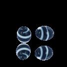Kralen voor surinaamse sieraden ovaal 10mm glaskralen zwart wit