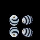 Kralen voor surinaamse sieraden ovaal 11mm glaskralen wit zwart
