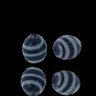 Kralen voor surinaamse sieraden ovaal 11mm glaskralen zwart wit