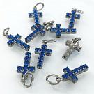 Hangertjes kristal strass hangertje kruisje blauw