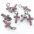 Hangertjes kristal strass hangertje kruisje licht roze