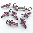 Hangertjes kristal strass hangertje kruisje roze